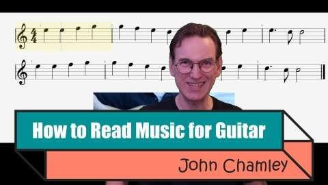 Skillshare paid course: How to Read Music for Guitar by John Chamley