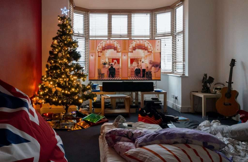 Room with guitar ready to play Christmas songs