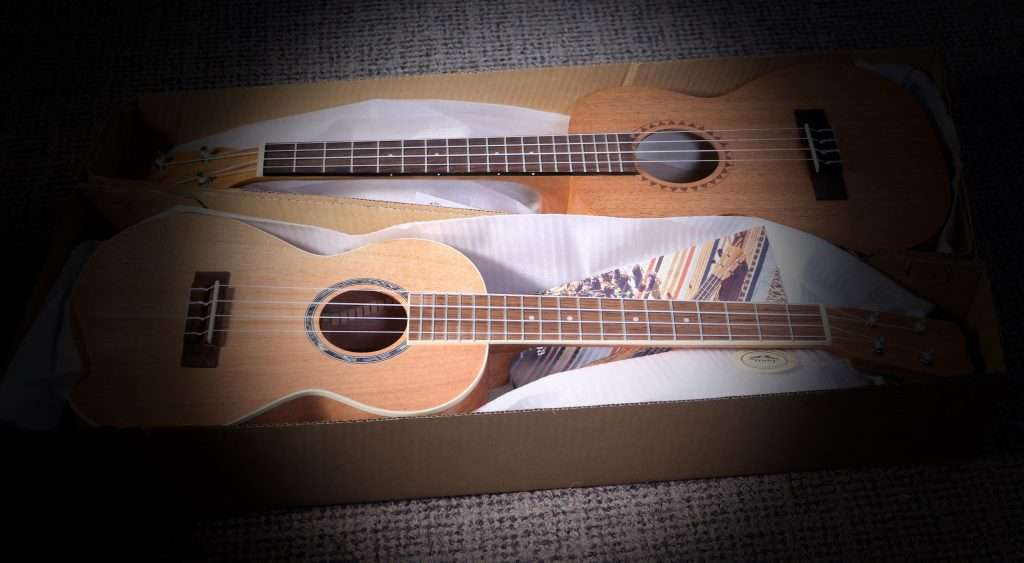 Cordoba 15TM and Kala KA-15T Ukuleles laying side by side