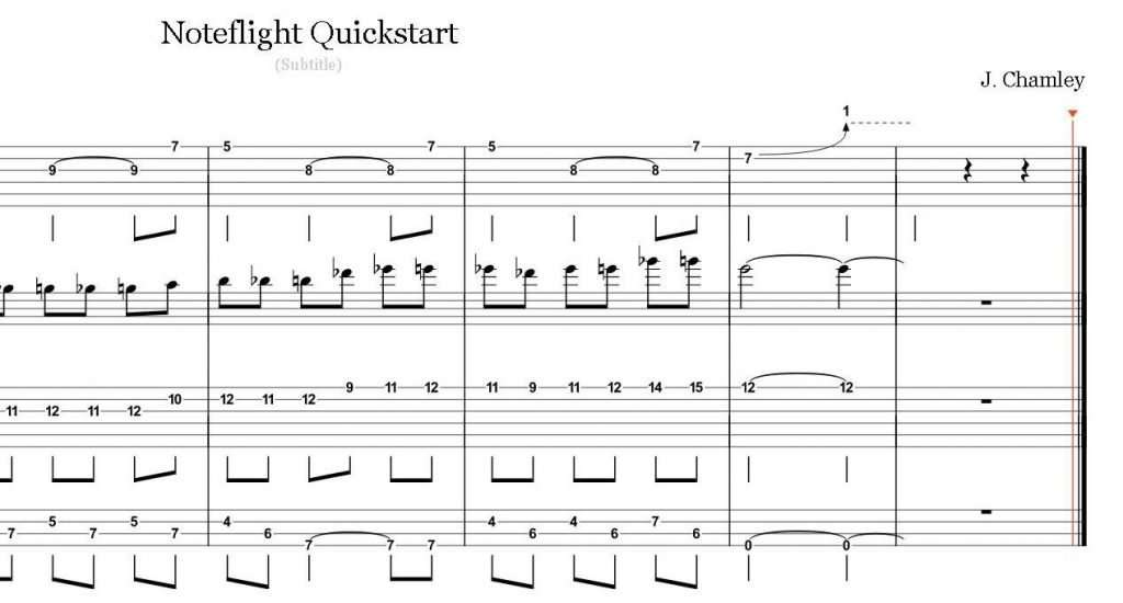 Noteflight score with multi-line TAB and notation